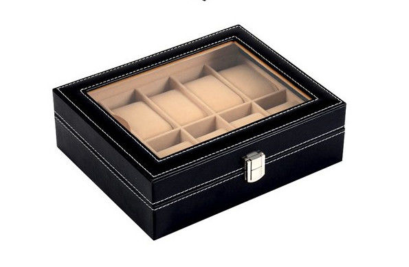High Glossy Varnishing Ladies Watch Storage Box , MDF Wrapped Watch Display Box Case
