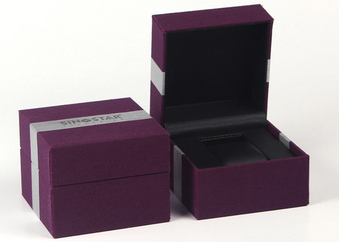 Purple Single Watch Gift Boxes , Women'S Watch Case Plastic Box Wrapped By Fabric