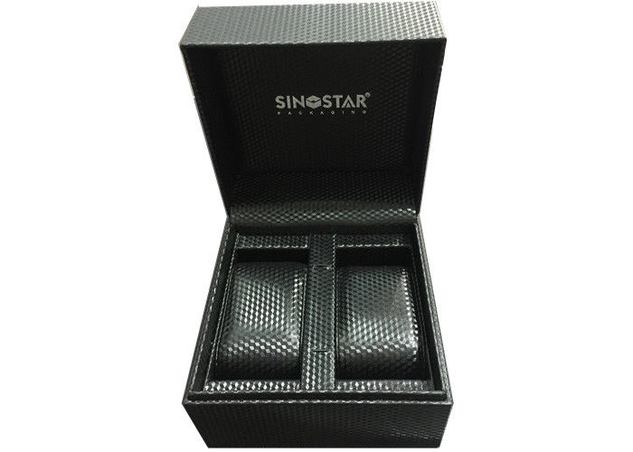 Custom Made Fashion Double Watch Box Hot Stamping Logo Recyclable For Men