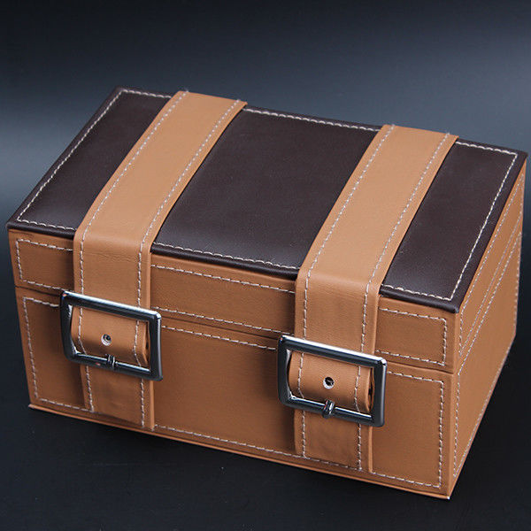 Huge Capacity Multiple Watch Box , Brown PU Leather Watch Jewelry Box