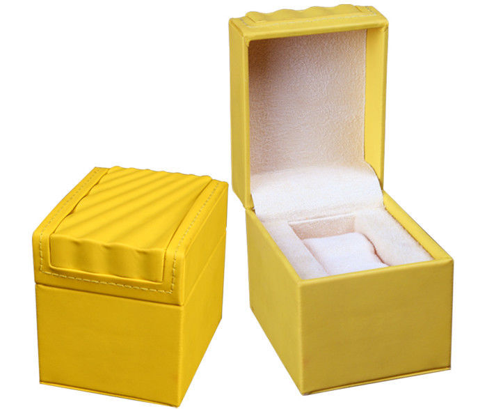 Yellow Leather Leather Watch Box Screen Printing Surface Finish For Gift Packaging