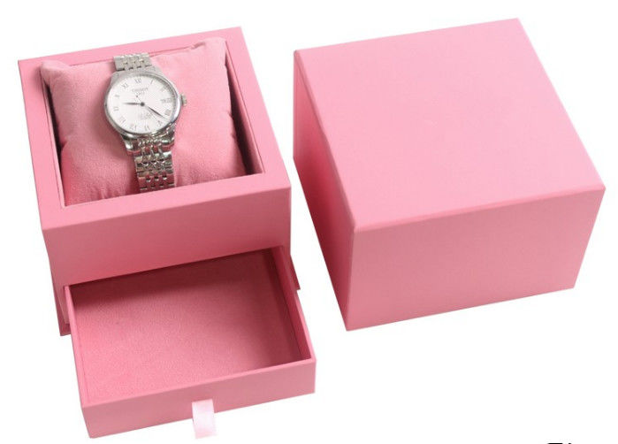 Creative Design Pink Ladies Watch Box , Cardboard Twist Personalized Watch Box